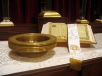 Offering plates on altar